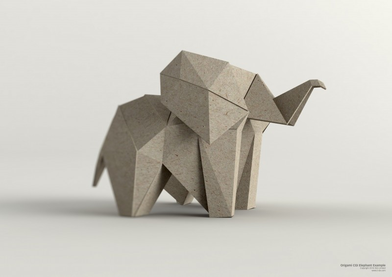 3D Illustration – Computer generated CGI Origami animal