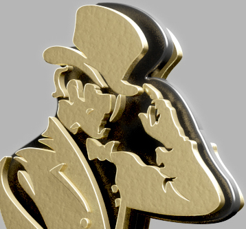 3D Visualisation JW Striding Man in Gold