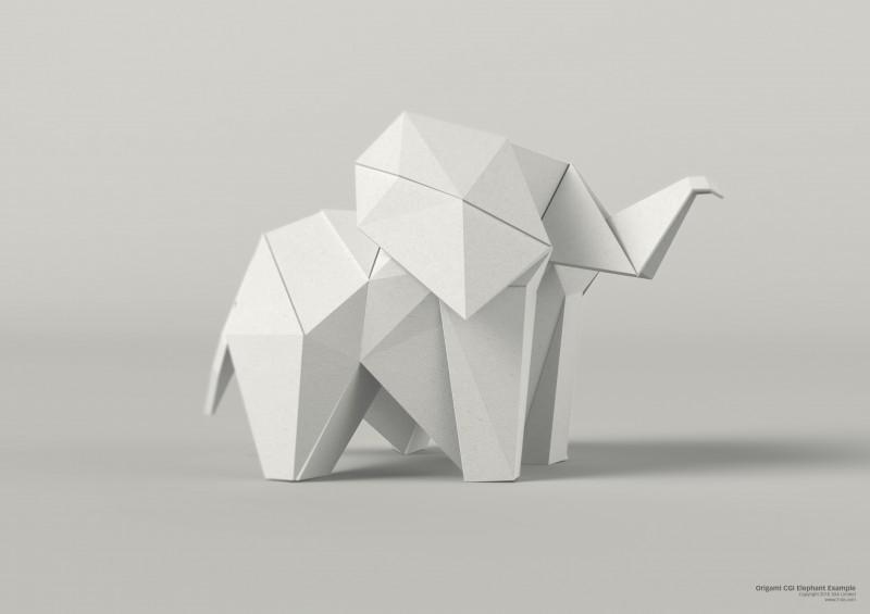 3D Illustration – Computer generated CGI Origami animal